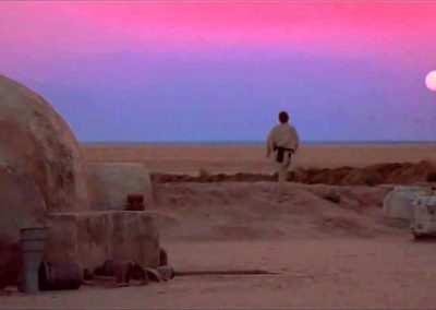 sunset coloration on tatooine for the exterior of the arena